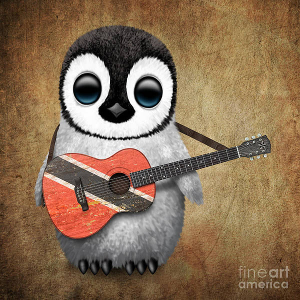 Trinidad Digital Art - Baby Penguin Playing Trinidadian Flag Guitar by Jeff Bartels