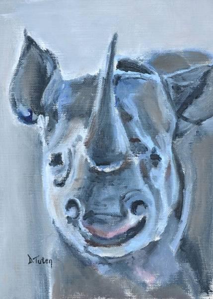 Painting - Baby Rhinoceros Safari Animal Painting by Donna Tuten