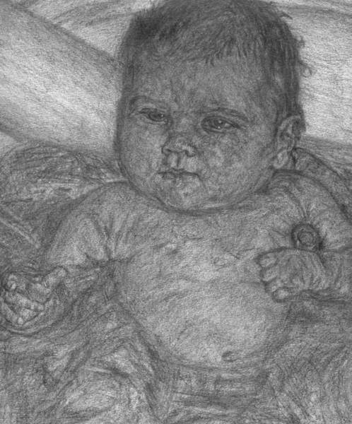 Drawing - Baby Taking A Bath by Sami Tiainen