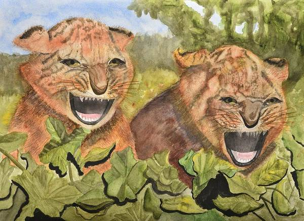 Growling Wall Art - Painting - Baby Tiger Cubs by Linda Brody
