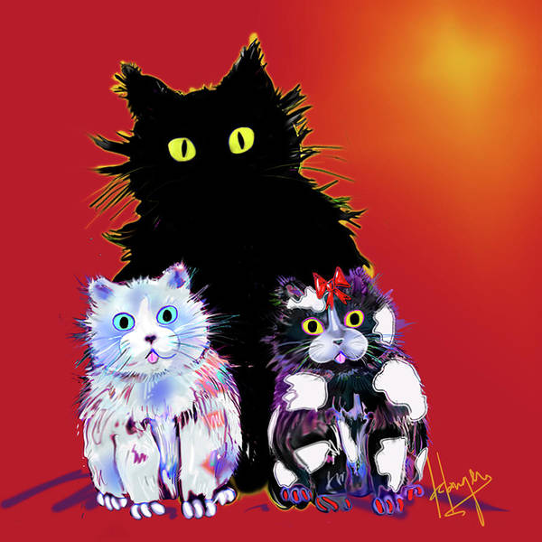 Painting - Baby Wu, Baby Moo, And Snowflake Dizzycats by DC Langer