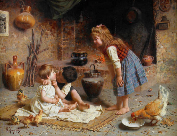 Rural Life Wall Art - Painting - Baby's First Kiss by Eugenio Zampighi