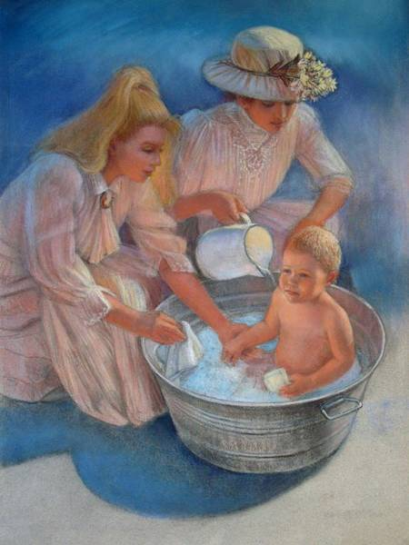 Wall Art - Painting - Baby's Summer Bath by Sue Halstenberg