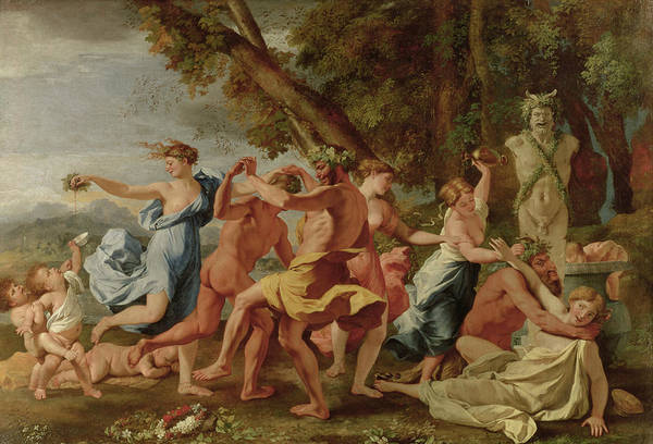 Mythology Painting - Bacchanal Before A Herm by Nicolas Poussin