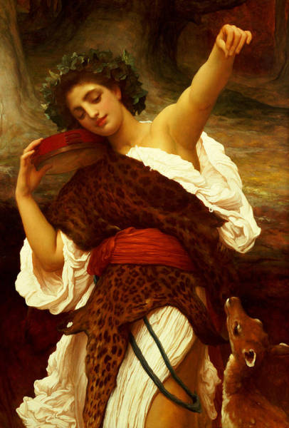 Classical Mythology Painting - Bacchante by Frederic Leighton