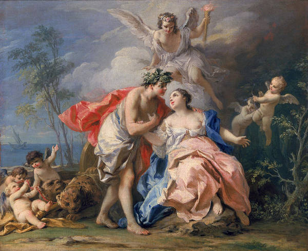 Wall Art - Painting - Bacchus And Ariadne by Jacopo Amigoni