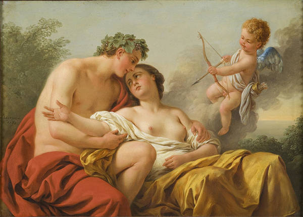 Wall Art - Painting - Bacchus And Ariadne by Louis-Jean-Francois Lagrenee