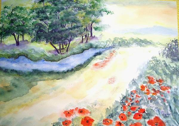 Painting - Bach Trees And Poppies Meadow by Joy of Life Art Gallery