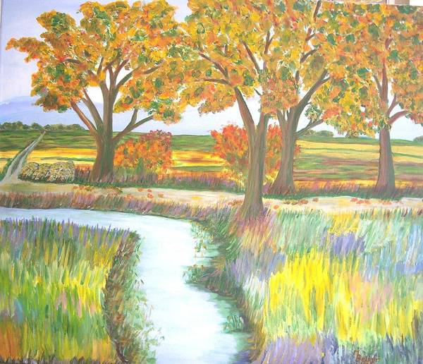 Painting - Bach Trees By Autumn Lake by Joy of Life Art Gallery