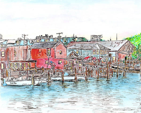 Drawing - Back Bay, Atlantic City, Nj by Michele A Loftus