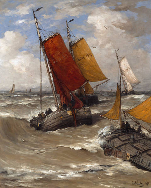 Back Painting - Back From Fishing by Hendrik Willem Mesdag