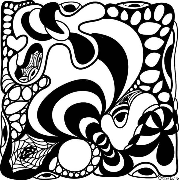Drawing - Back In Black And White 11 Modern Art By Omashte by Omaste Witkowski