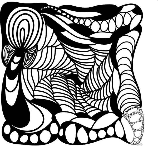 Drawing -  Back In Black And White 14 Modern Art By Omashte by Omaste Witkowski