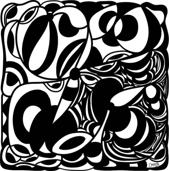 Drawing - Back In Black And White 5 Modern Art By Omashte by Omaste Witkowski