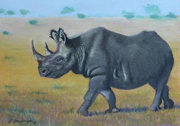 Wall Art - Painting - Black  Rhino by Patty Strubinger
