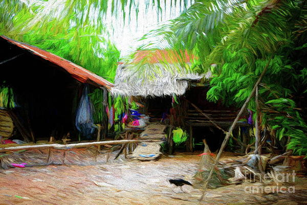 Mud House Photograph - Back Roads Cambodia Shelter Home Rural  by Chuck Kuhn
