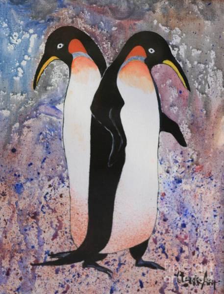 Painting - Back-to-back King Penguins by Jean Clarke