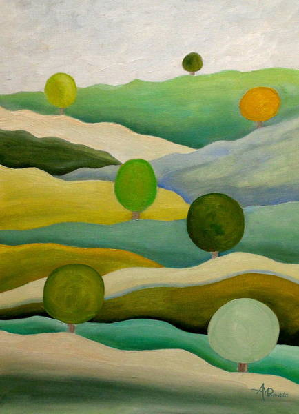 Painting - Back To The Green Fields by Angeles M Pomata