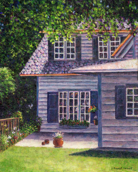 Painting - Back Yard With Flower Pots by Susan Savad