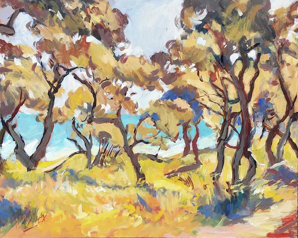 Wall Art - Painting - Backlight Olive Trees Marmari Beach by Nop Briex