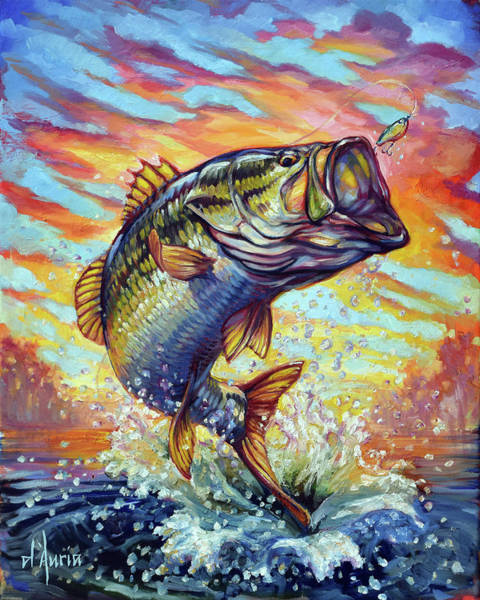 Freshwater Wall Art - Painting - Backlit Bass by Tom Dauria
