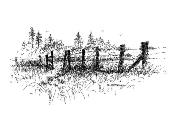 Drawing - Backlit Fence by Randy Welborn