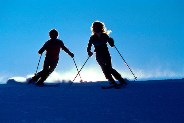 Wall Art - Photograph - Backlit Skiers Two by Vance Fox