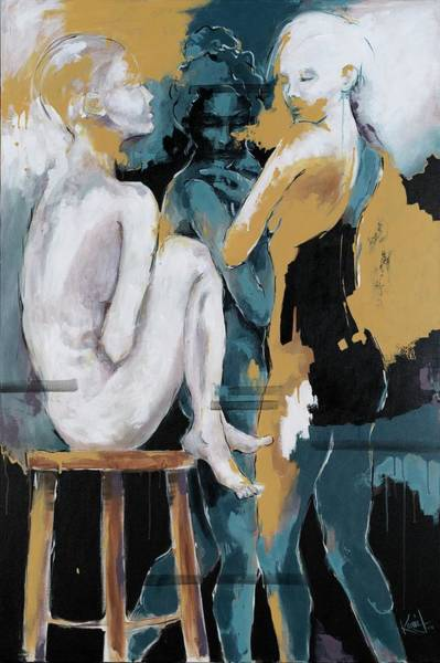 Painting - Backstage - Beauties Sharing Secrets by Konni Jensen