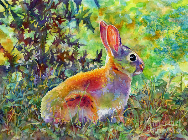 Bunny Rabbit Wall Art - Painting - Backyard Bunny by Hailey E Herrera