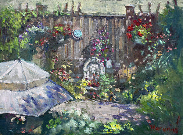 Wall Art - Painting - Backyard Flowers  by Ylli Haruni