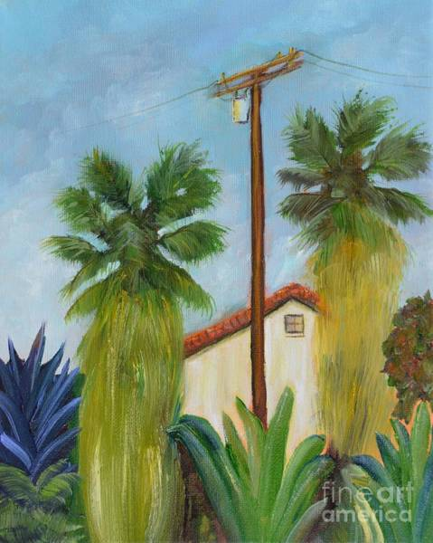 Utility Poles Painting - Backyard by Mary Scott