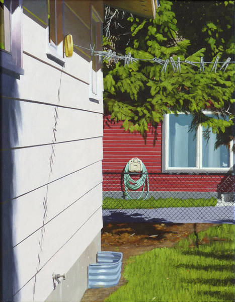 Clothesline Painting - Backyard by Michael Ward