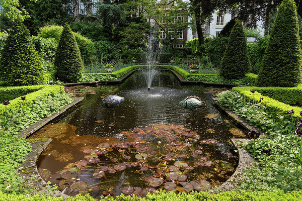 Photograph - Backyard Oasis Symmetry With A Softly Burbling Garden Fountain by Georgia Mizuleva