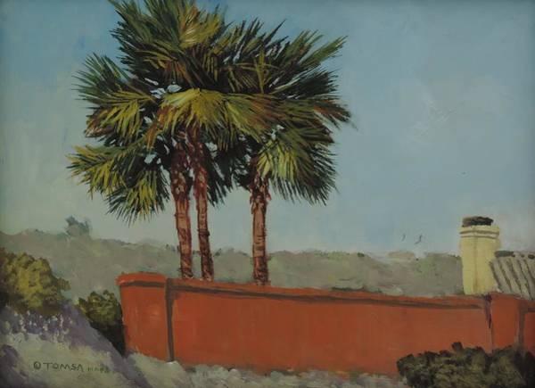 Neighborhood Painting - Backyard Palms - Art By Bill Tomsa by Bill Tomsa
