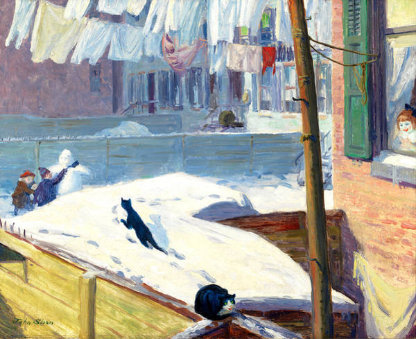 Wall Art - Painting - Greenwich Village Backyards by John French Sloan