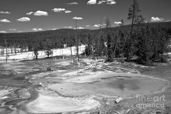 Yellowstone Caldera Photograph - Bacterial Mats At Firehole Spring Black And White by Adam Jewell