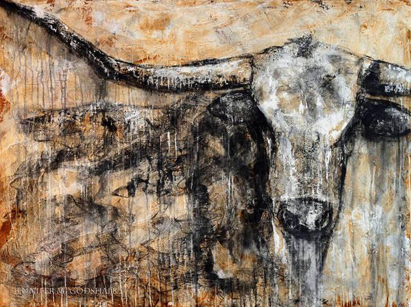 Longhorn Painting - Bad Attitude Texas Longhorn Contemporary Painting by Jennifer Morrison Godshalk