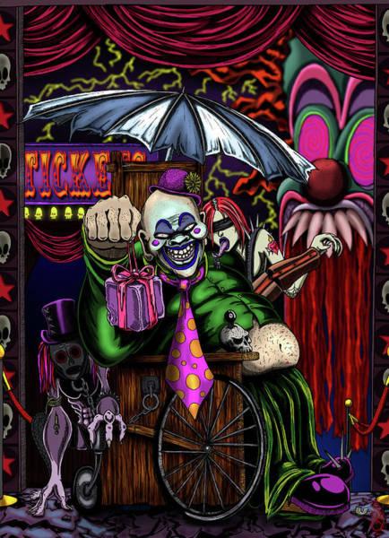 Grotesque Digital Art - Bad Clown by Steve Hartwell