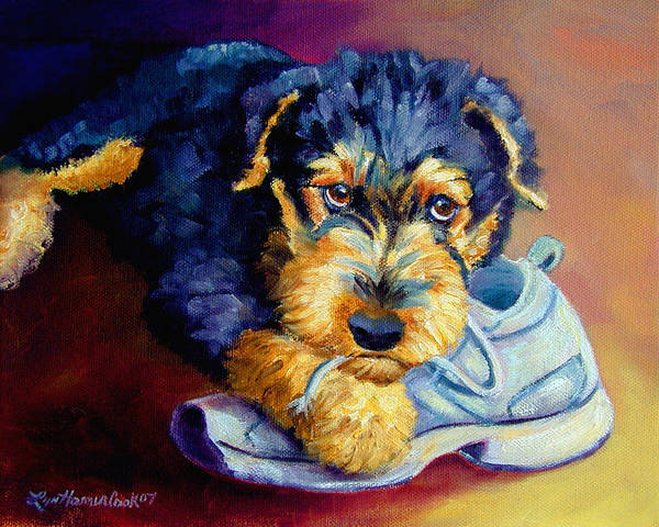 Wall Art - Painting - Bad Puppy Airedale Terrier by Lyn Cook