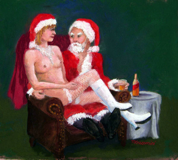 Painting - Bad Santa by Mary Giacomini