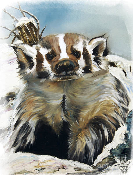 Wall Art - Painting - Badger - Guardian Of The South by J W Baker
