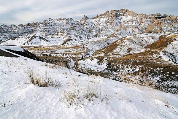 Badlands In Snow Art Print