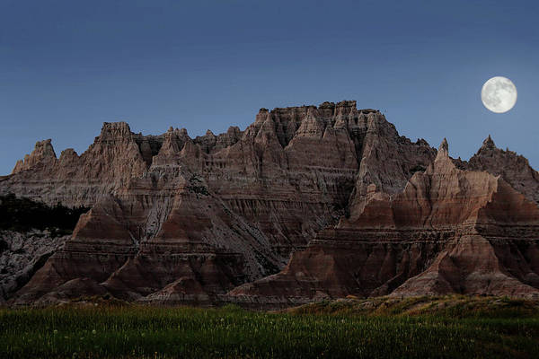 Art Print featuring the photograph Badlands Moon Rising by Jemmy Archer