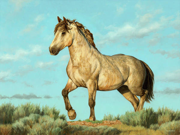 Painting - Badlands Mustang by Peter Eades