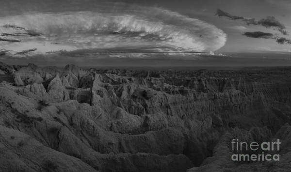 Photograph - Badlands National Park Black And White Sunset by Adam Jewell