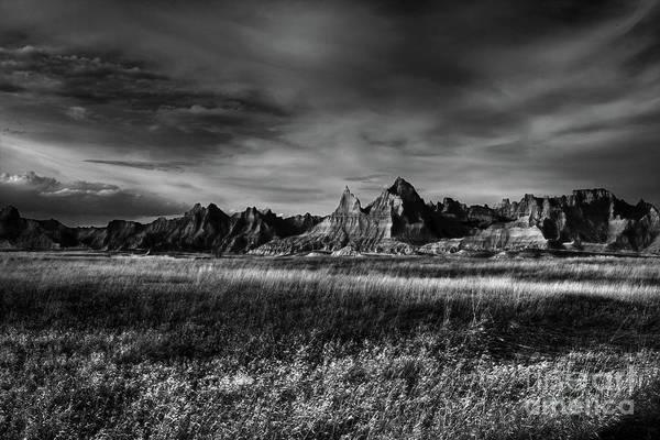 Photograph - Badlands National Park South Dakota Landscape Bw by Wayne Moran