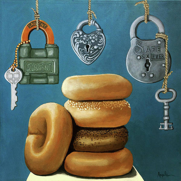 Wall Art - Painting - Bagels And Locks by Linda Apple