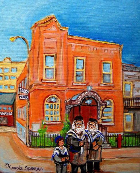 Lchaim Painting - Bagg Street Synagogue Sabbath by Carole Spandau