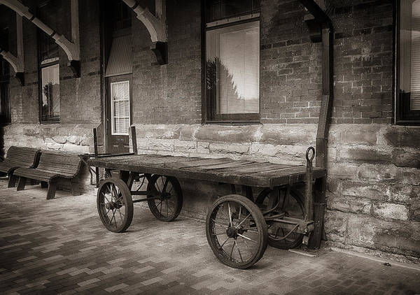 Photograph - Baggage Cart In Sepia by Dick Pratt