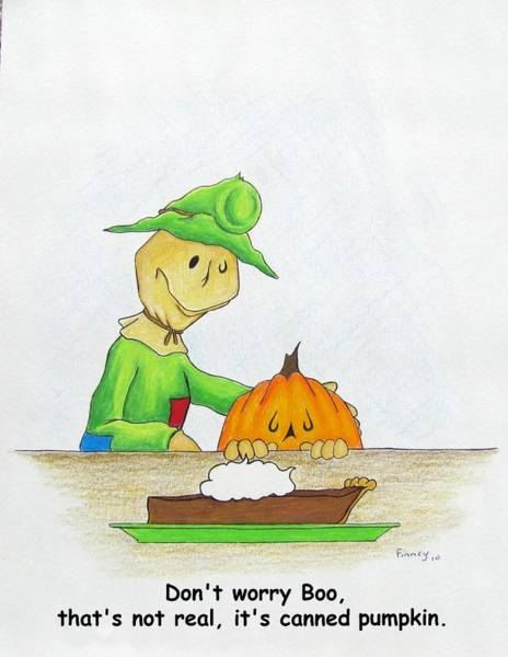 Tmad Drawing - Baggs And Boo Canned Pumpkin by Michael  TMAD Finney
